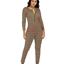 Green New Arrival Christmas Striped Slim Bodycon Casual Jumpsuit N9180