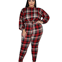 Casual Oversize Two-Piece Checks Ladies Pants Set For Daily Wear ED8163