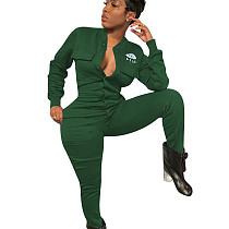 Green Leisure Women Polyester Bodycon Thicken Black Jumpsuit ED8161