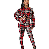 Vente chaude Polyester Plaid Tenues Longues Attaché Crop Top Skinny Pantalon ED8163