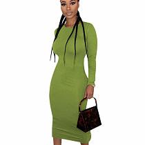 Avocado Leisure Round Collar Pure Color Split Button Down Bodycon Dress E8475