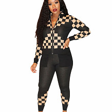 Cream Black Winter Street Style Bodycon Checks Patchwork Casual Outfits E8477