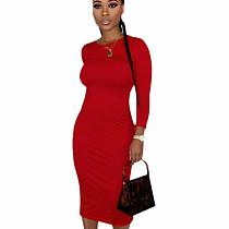 Red Leisure Round Collar Pure Color Split Button Down Bodycon Dress E8475