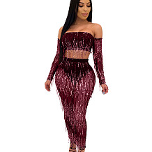 Wine Red Mature Women See Through Sequined Tassel Sexy Skirt Suits QZ4089