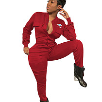 Red Leisure Women Polyester Bodycon Thicken Black Jumpsuit ED8161