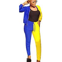 Femmes loisirs style long contraste couleur deux pièces costumes S686