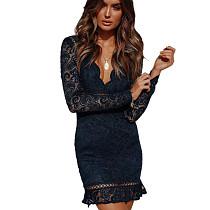 Dark Blue Slim Bodycon Sexy Embroidery V Collar Lace Mini Dress QZ8013