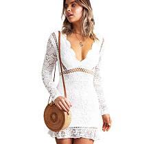 White Slim Bodycon Sexy Embroidery V Collar Lace Mini Dress QZ8013