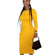 Yellow Leisure Round Collar Pure Color Split Button Down Bodycon Dress E8475