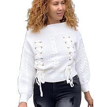 Теплые женские топы с плоскими плечами Глазки Повязка Белый свитер YS323