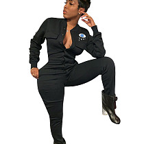 Black Leisure Women Polyester Bodycon Thicken Black Jumpsuit ED8161