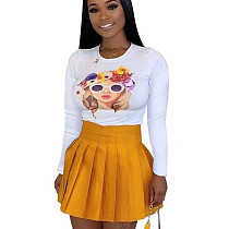 Yellow New Style Leisure Women Sets Figure Pattern T-Shirt Pleated Skirt D8327
