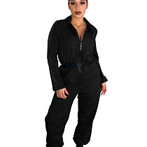 Black Zipper Thin Solid Color Women Straight Jumpsuit With Belt T3298