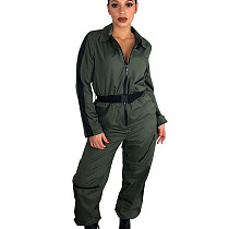 Army Green Zipper Thin Solid Color Women Straight Jumpsuit With Belt T3298