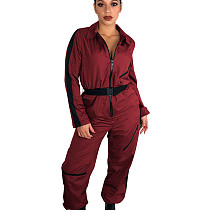 Wine Red Zipper Thin Solid Color Women Straight Jumpsuit With Belt T3298