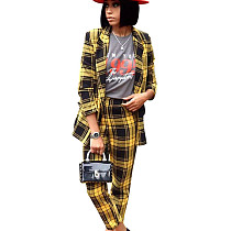 Stylish Ladies Two-Piece Yellow Checks Winter Casual Suits D8325