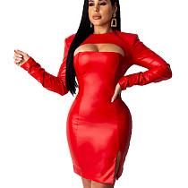 Red Wholesale Split Female Plain Color Hollow Out Bodycon Dress KK8181