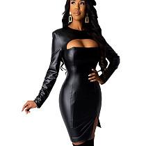 Black Wholesale Split Female Plain Color Hollow Out Bodycon Dress KK8181