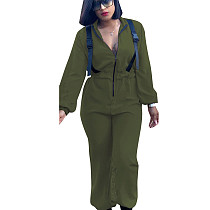 Army Green Wholesale Leissure Zipp Front Wide Leg Jumpsuits T3297