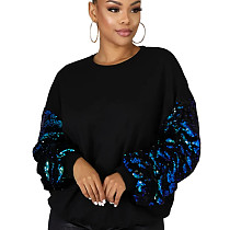 Fashionable Sequin Sleeves Patchwork Women Leisure Top HY5124