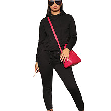 Black Fashion Women's Plain Color Long Sleeves Hooded Casual Tacksuits Q402