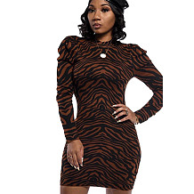 Euramerican Club Ladies Printed Long Sleeve Wrap Dress YSH6120