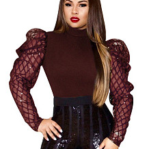 Wine Red Party Women Sequins Long Sleeves Patchwork Solid Color Top Q406