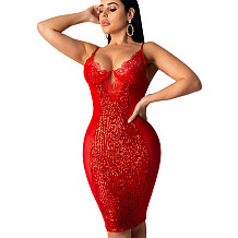 Red Sequined Patchwork Transparent Spaghetti Strap Pencil Dress KA7069