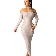 White Long Sleeves Sexy Backless Back Slit Bodycon Strapless Dress YSH6111