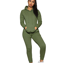 Army Green Fashion Women's Plain Color Long Sleeves Hooded Casual Tacksuits Q402