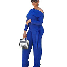 Zipper Tied T-Shirt Wide Leg Pants Winter Female Blue Sets OMM1098