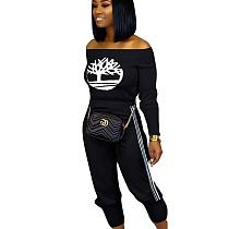 Black Off Shoulder T Shirt Pencil Pants Hot Sale Sport Outfits OMM1097