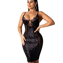 Black Sequined Patchwork Transparent Spaghetti Strap Pencil Dress KA7069