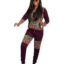 Wine Red National Style Winter Zipper Outfits Printing Leisurewear YMT6122