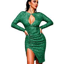 Green Sexy Women Hollow Out Glitter Sequins Long Sleeve Split Dress XZ3335