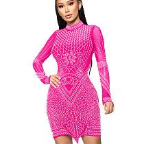 Pink Sexy Rhinestones Women Mesh Perspective Bodycon Wrap Dress XZ3339