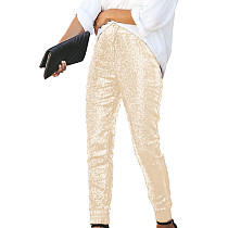 Champagne Shiny Sequin Women Faux Leather Patchwork Pants Club Trousers Q193