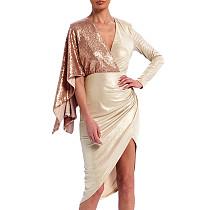 Cocktail  Party Irregular Sequins Patchwork V Collar Sexy Midi Dress XZ3338