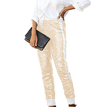 White Champagne Shiny Sequin Women Faux Leather Patchwork Pants Club Trousers Q193