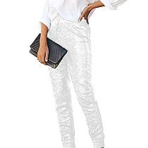 White Shiny Sequin Women Faux Leather Patchwork Pants Club Trousers Q193