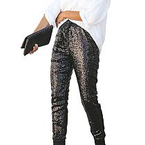 Black Shiny Sequin Women Faux Leather Patchwork Pants Club Trousers Q193