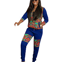 Royal Blue National Style Winter Zipper Outfits Printing Leisurewear YMT6122