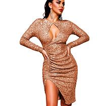 Rose Gold Sexy Women Hollow Out Glitter Sequins Long Sleeve Split Dress XZ3335