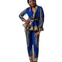 Blue Ruffle Bandage Coat Pencil Pants National Style Print Sets QQM3898