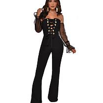 Black Elegant Polka Dot Long Sleeves Off Shoulder Bandage Jumpsuit YMT6127