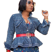 Fashionable Long Sleeved Denim Ruffle Bodycon Coat For Women SMR9535