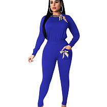 Blue Round Collar T-Shirt Pencil Pants Sport Solid Outfits With Bowknots QQM3908