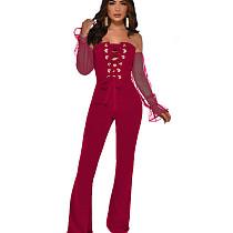 Wine Red Elegant Polka Dot Long Sleeves Off Shoulder Bandage Jumpsuit YMT6127