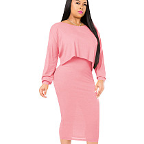 Pink Leisure Solid Sets Sleeveless Bodycon Dress+Cover Up Tops QQM3895