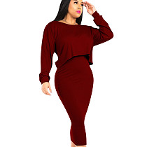 Wine Red Leisure Solid Sets Sleeveless Bodycon Dress+Cover Up Tops QQM3895